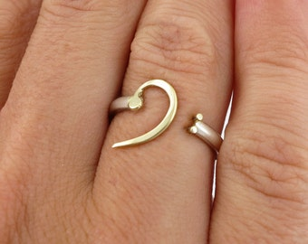 Bass clef 14k gold and silver adjustable ring