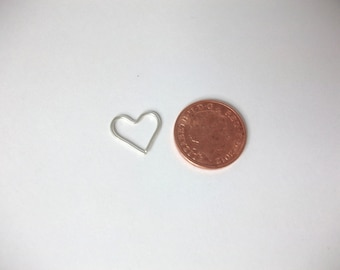 Small Heart Earring, Sterling Silver mini hoop earring, 18 gauge small sleeper, continuous hoops, romantic gift