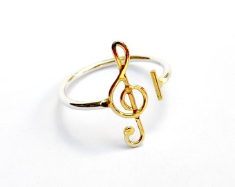 14k Solid Gold and silver adjustable ring - treble clef ring - Unisex Gold and silver ring - Gift ring for musician