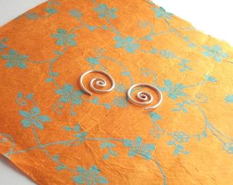 Small spiral earrings, PAIR Sterling Silver hoop earrings, small sleepers