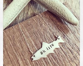 Salmon Necklace, Alaska Necklace, Salmon Fishing Necklace