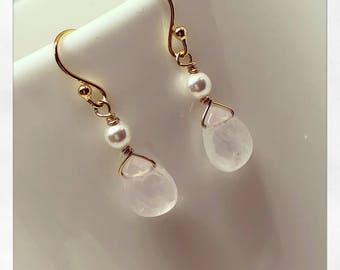 Rose Quartz Earrings, Silver Gemstone Earrings, Pink Earrings, Simple Gemstone Earrings