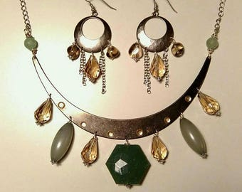 Tribal boho parure necklace and earrings