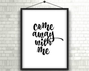 Printable Art // Come Away With Me // Norah Jones // Lyric, Quote // Wall Decor // Instant Download 8x10
