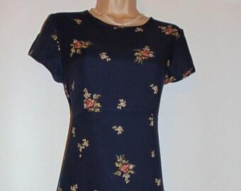 Laura Ashley vintage, navy floral, fine viscose-wool blend, Empire line style long dress, size 14 UK
