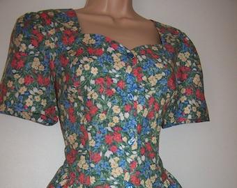 Laura Ashley vintage summer'95 catalogue, woodland floral, front buttons, cotton tea dress, size 12 UK