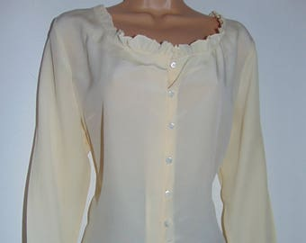 Laura Ashley vintage Edwardian - Boho inspired sandwashed silk blouse, 16 UK
