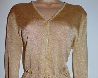 Laura Ashley vintage, new with tag, Christmas lurex style fine knit festive cardigan, Medium