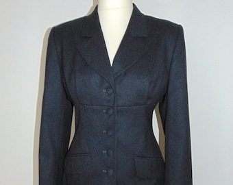 Laura Ashley Vintage, Charcoal 100% Pure Wool, Fitted Tailored Long Jacket, size 14 UK