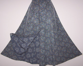 Laura Ashley vintage summer 95, marine floral, flowing viscose button through skirt, size 14 UK