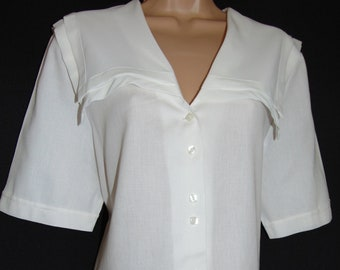 Laura Ashley Vintage Sailor Nautical Seaside Edwardian Casual Blouse, Size 16 UK