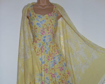 Laura Ashley vintage summer '97, sunshine floral cotton, full-length sun-dress, size 8 and matching new scarf