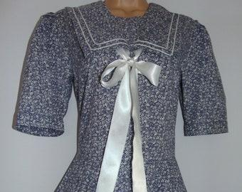 Laura Ashley Vintage Nautical Sailor Seaside Yachting Romantic Dress, Size 12 UK