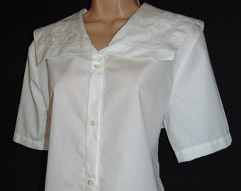 Laura Ashley Vintage Sailor Nautical Seaside Edwardian Revival Embroidered Blouse, Size 14 UK