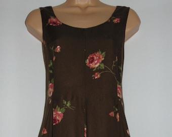 Laura Ashley Vintage Rose Print Pinafore ( maternity style) Full Length Dress, Size 8 UK