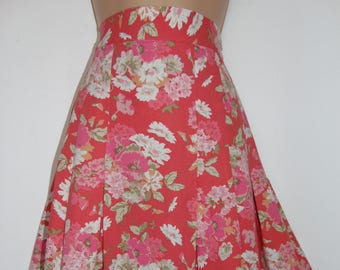 Laura Ashley vintage coral cotton/linen blend garden floral pleated skirt, size 14 UK