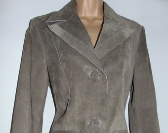 Laura Ashley Vintage, Taupe Luxurious Real Leather Suede Tailored Jacket, Size 12 UK