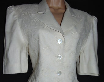 Laura Ashley Vintage, Embroidered Stone Linen, Rear Ties, Short Sleeved Blazer -Jacket, Size 12