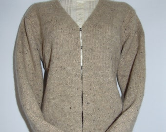 Laura Ashley Vintage Hand Knitted Stone Wool/ Mohair Cardigan, Size Medium