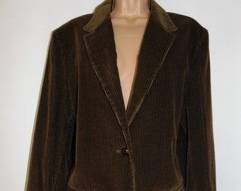 Laura Ashley - Vintage Autumn 94'- English Country - Hickory Velvet Corduroy Long Jacket, Size 12 UK