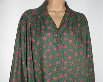 Laura Ashley Vintage Bloomed Moss Cotton Shawl Collar Loose Fit Blouse, Size 16 UK