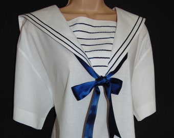 Laura Ashley Vintage 80's Sailor Nautical Seaside Yachting Edwardian Inspired Blouse, Large
