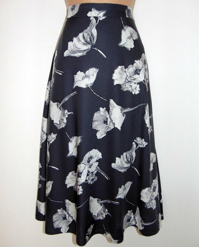 vintage inspired skirt 8UK lined Laura Ashley 100/% viscose greyivory poppies