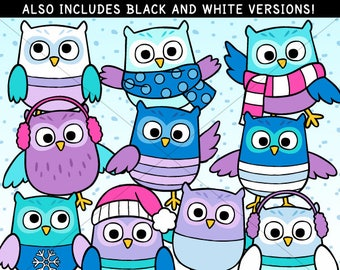 Winter Owls Clip Art