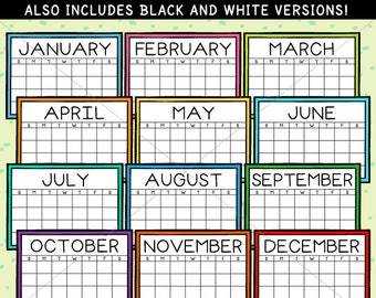 Simple Calendars Clip Art - personal and limited commercial use
