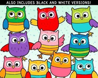 Colorful Owls Clip Art and Lineart - personal and commercial use