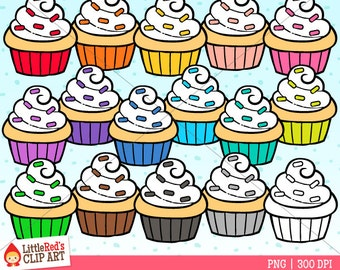 Rainbow Cupcakes Clip Art - personal and commercial use