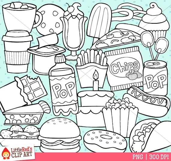 Junk Food Clipart Und Ausmalbild Private Und Kommerzielle Nutzung