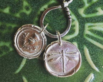 OUTLANDER JEWELRY / DRAGONFLY / Fine Silver / Wax Seal Pendant
