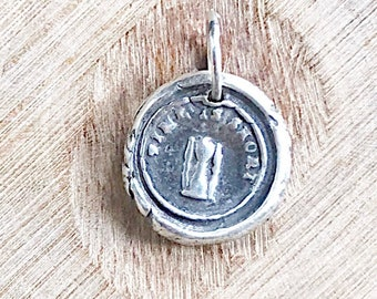 TIME IS SHORT / Hour Glass / Wax Seal Pendant