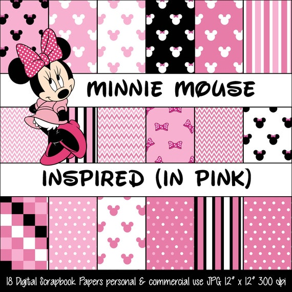 MINNIE MOUSE Inspired Pink Polka Dot & Bow Digital Paper ...