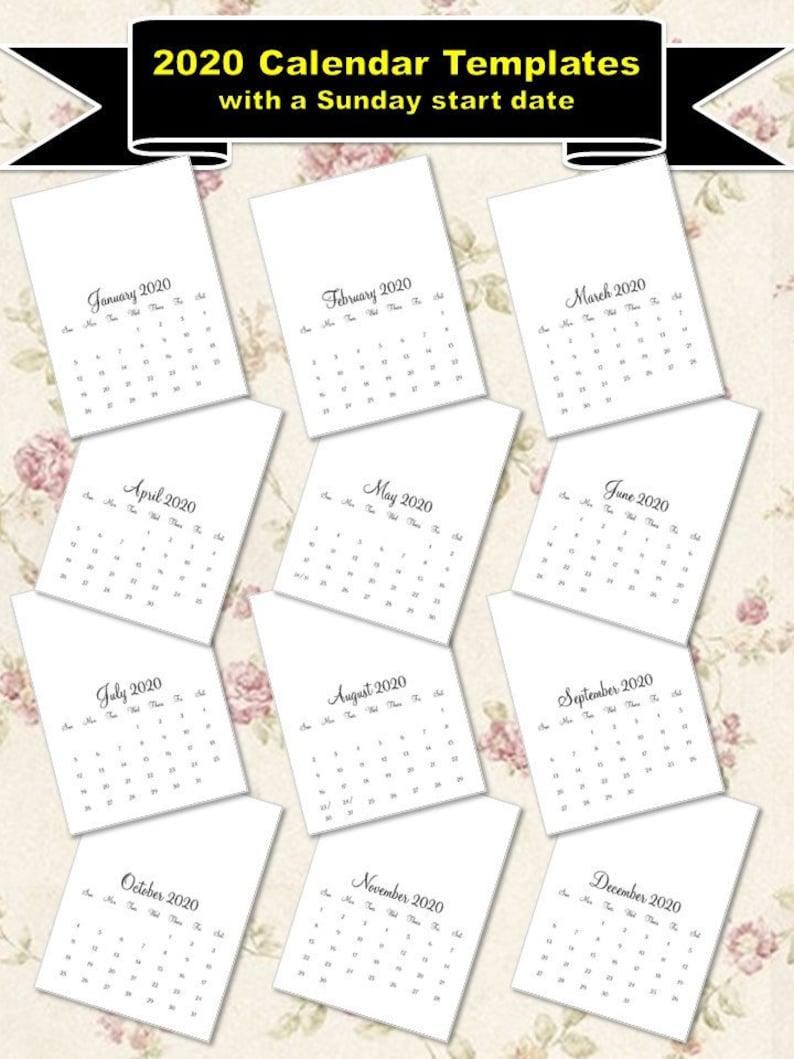 January 2020 Calendar 8x11 2020 Calendar templates with a Sunday Start 8x11 | Etsy