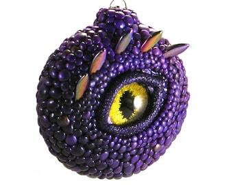Dragon Eye Ornament - Purple Dragon with Golden-Green Eye