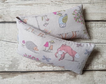 wheat bag extra large lavender or no lavender wheat bag in woodland deer fox rabbit owl cotton fabric