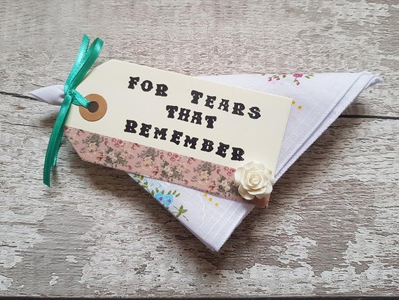 grief gift sympathy keepsake for tears that remember hankie etsy