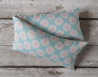 Christmas wheat bag extra large lavender , cinnamon or just wheat  in cotton fabric in a aqua floral pattern