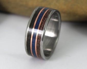 Damascus Steel Ring With Meteorite, Dinosaur Bone, Blue Lapis and Copper.  Meteorite Ring, Damascus Wedding Ring, Meteorite Jewelry