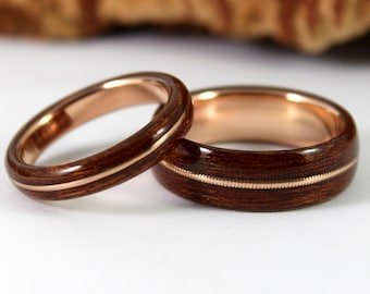 Rose Gold and Wood Ring With Guitar String Inlay - Mens Wedding Band - Bentwood Ring - Made To Order