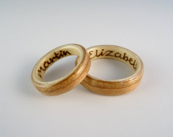 Burnt Inscription Up to 15 characters long on the inside or outside of your bent wood ring, or to any other item from my shop