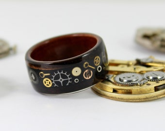 Wooden Steampunk Gear Ring Bent Wood Ring With Watch Parts Inlay Mens Wedding Band Steampunk Wedding Ring Mens Wood Ring Steampunk Jewelry