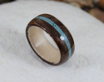 Bent Wood Ring, Walnut Burl & Maple with Turquoise Inlay, Mens Wood Ring, Wood Engagement Ring, Wood Wedding Ring, Wood Ring for Women