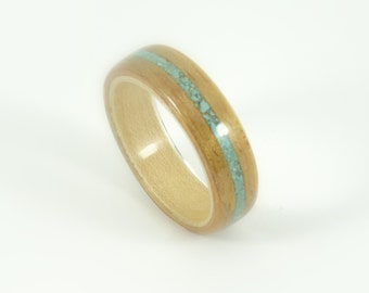 Hawaiian Koa Wood Ring with Maple & Turquoise Inlay.  Bent Wood Ring Handmade To Your Size