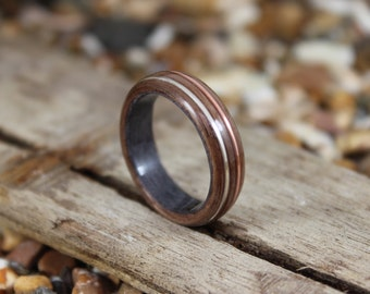 Grey Maple & Walnut Wood Ring with Copper and Silver, Mens Wood Ring, Womens Wood Ring, Wood Engagement Ring, Wood Wedding Band, Wooden Ring