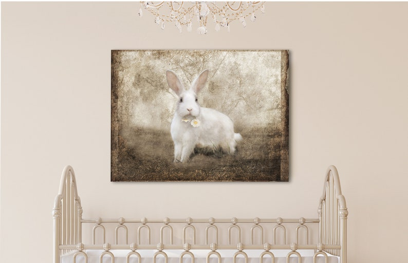 Rabbit Canvas Farmhouse Wall Art Country Cottage Art Rabbit Art Print Rabbit Painting Vintage Rabbit Painting Rustic Glam Decor