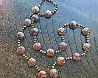 Pietersite necklace with Bronze spacers, copper clasp and extension chain, hand knotted