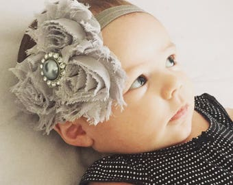 Gray Shabby chic vintage headband